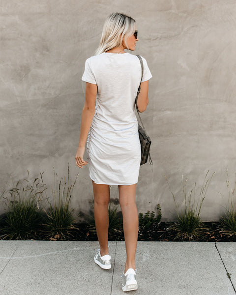 Perfect Fit Ruched Shirt Dress - Light Grey