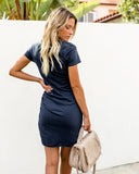 Perfect Fit Ruched Shirt Dress - Navy