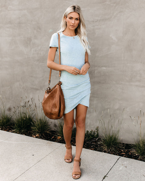 Perfect Fit Ruched Shirt Dress - Seafoam