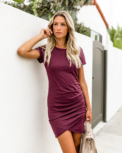 Perfect Fit Ruched Shirt Dress - Wine
