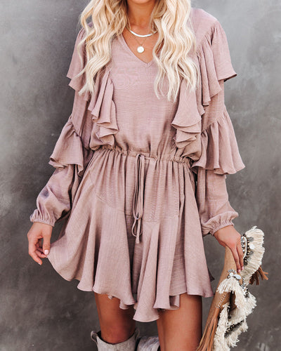 Personalized Drawstring Ruffle Dress - Light Mocha