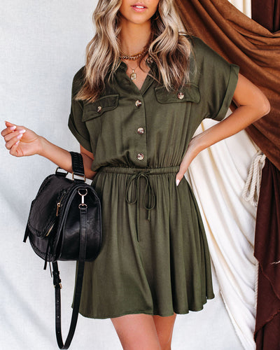 Perth Cotton Pocketed Button Down Utility Dress