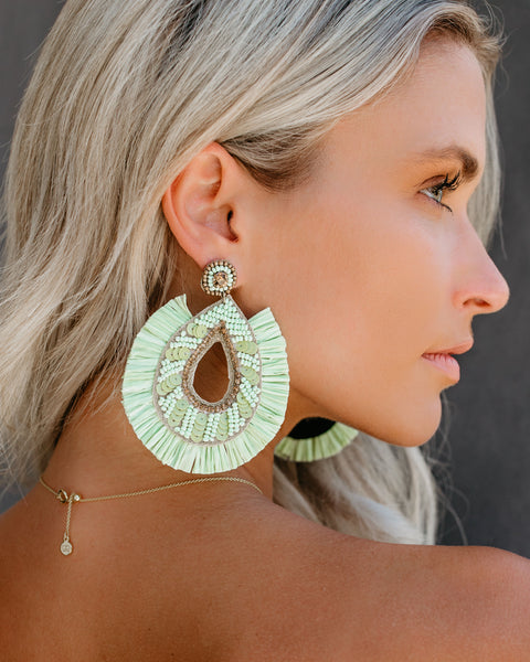 Pharaoh Fringe + Beaded Earrings - Mint