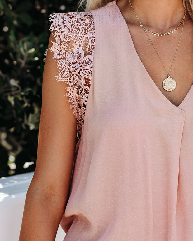 Photo Finish Sleeveless Crochet Lace Blouse - Blush