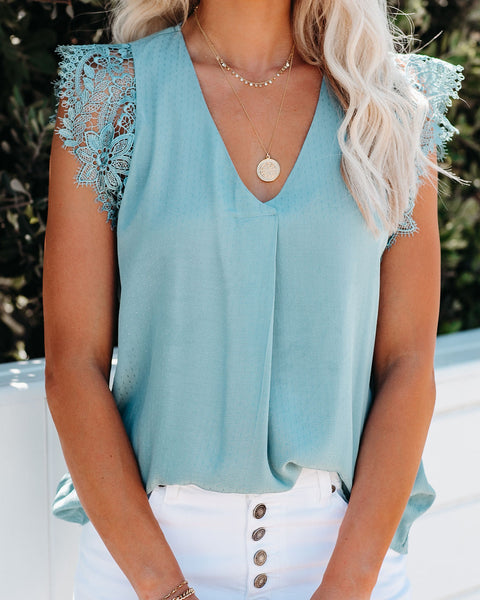 Photo Finish Sleeveless Crochet Lace Blouse - Ocean Blue