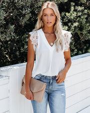 Photo Finish Sleeveless Crochet Lace Blouse - Off White