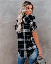 Pia Cotton Short Sleeve Plaid Button Down Top
