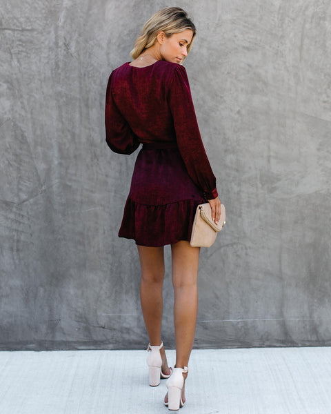 Pick Of The Patch Long Sleeve Satin Tie Dress - Wine - FINAL SALE
