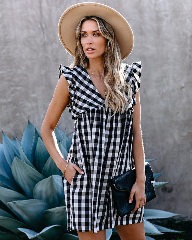 Picnic Day Cotton Gingham Pocketed Dress