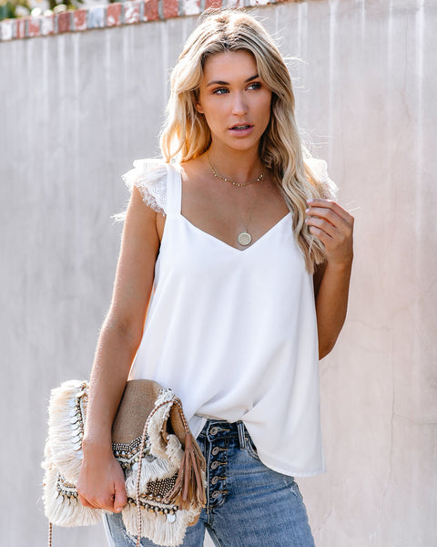 Picturesque Lace Detailed Tank - Off White