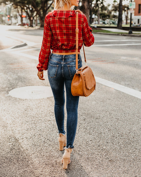 Pied Piper Plaid Ruffle Wrap Blouse - Rust - FINAL SALE