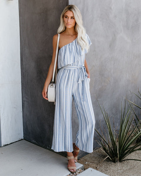 Pier Pressure One Shoulder Striped Pocketed Jumpsuit - FINAL SALE