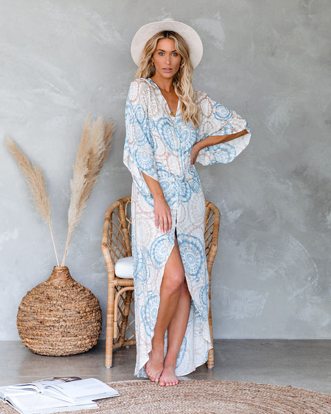 Pineapple In Hand Tie Dye Twist Kimono Maxi Dress