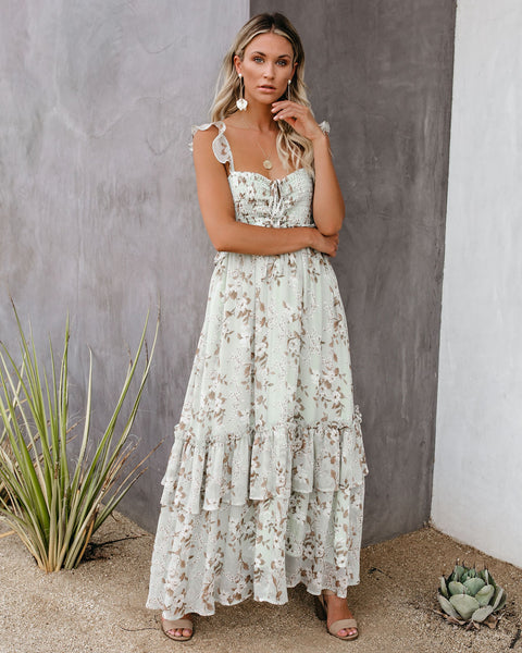 Pioneer Floral Smocked Ruffle Maxi Dress - FINAL SALE