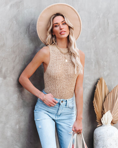 Piper Sleeveless Knit Top - Sand