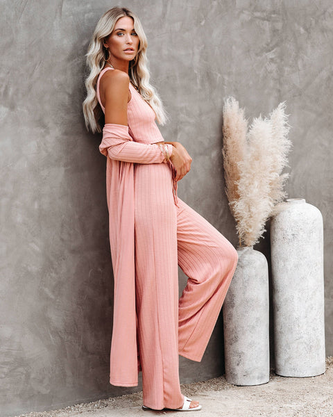 Pismo Ribbed Knit Duster - Dusty Pink