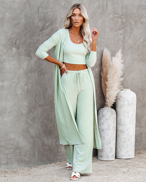 Pismo Ribbed Knit Duster - Sage