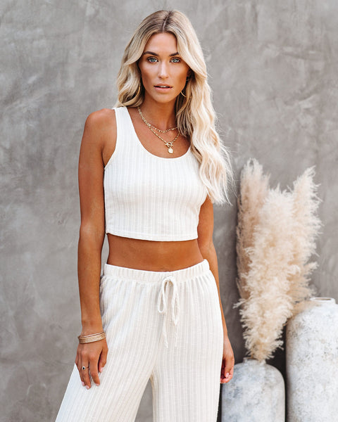 Pismo Ribbed Crop Knit Tank - Sand