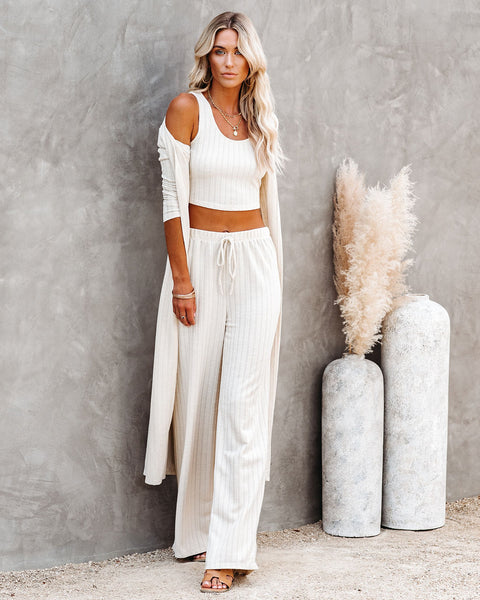 Pismo Ribbed Knit Pants - Sand