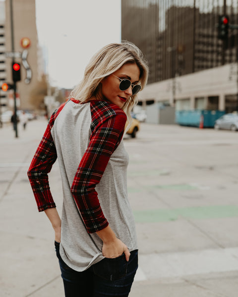 PREORDER - Plaid Me Baseball Tee