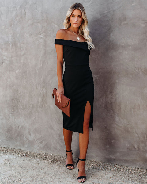 Plans Tonight Off The Shoulder Bodycon Dress - Black