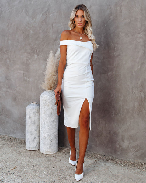 Plans Tonight Off The Shoulder Bodycon Dress - White