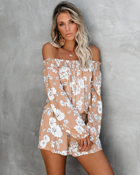 Plan Your Visit Floral Off The Shoulder Romper