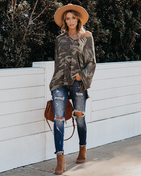Play For Keeps Camo Knit Dolman Top - FINAL SALE