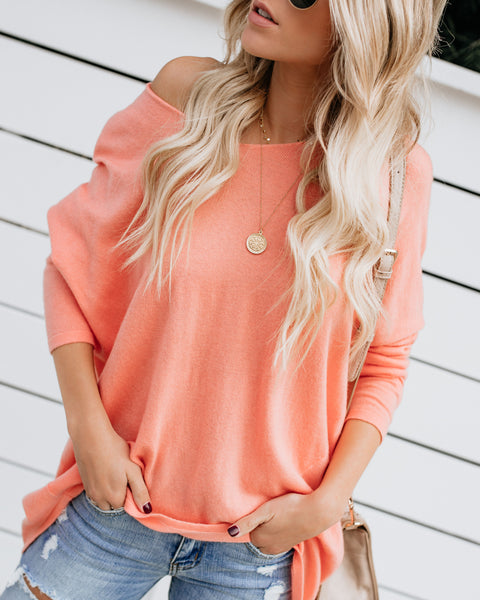 Pleasant Surprise Light Knit Sweater - Coral - FINAL SALE