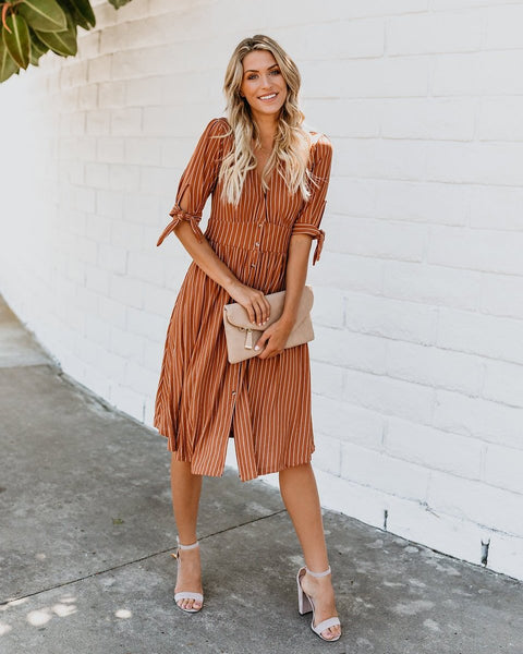 Pleasantville Striped Button Up Midi Dress