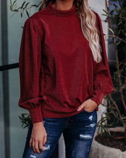 Pleased To Meet You Mock Neck Shimmer Blouse - FINAL SALE