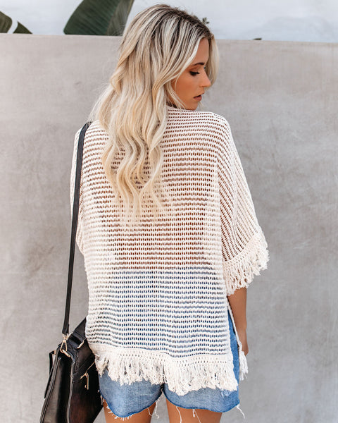 Plenty Of Fish In The Sea Knit Fringe Top - FINAL SALE