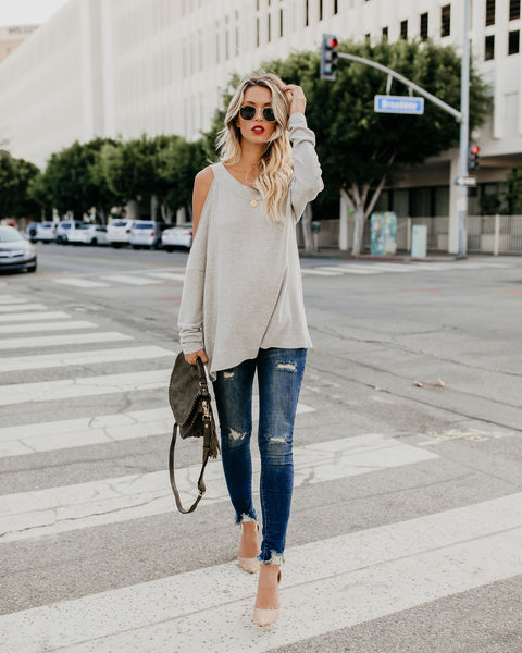 Plush Cut Out Knit Top