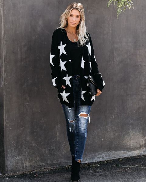 Pluto Pocketed Star Knit Cardigan