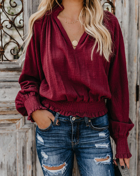 Plymouth Smocked Boho Blouse - Wine