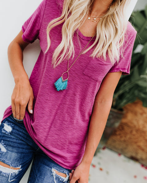 Pocketed Malibu V-Neck Tee - Magenta