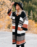 Pocketed Novelty Striped Chenille Cardigan