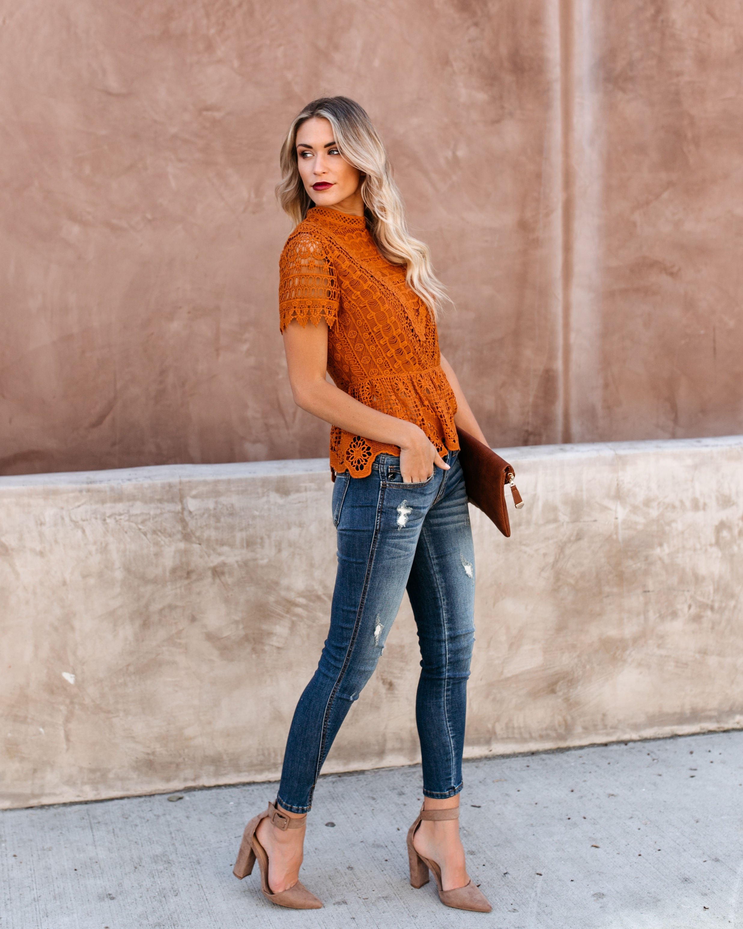 2987124788 Poetic Crochet Lace Peplum Top - Rust – VICI