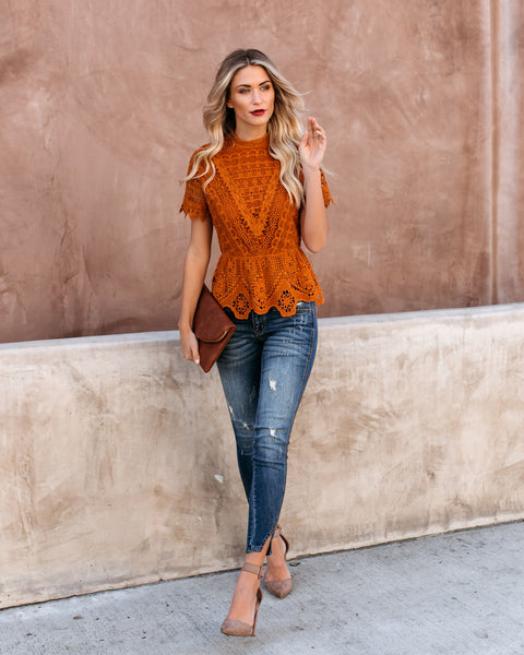 Poetic Crochet Lace Peplum Top - Rust