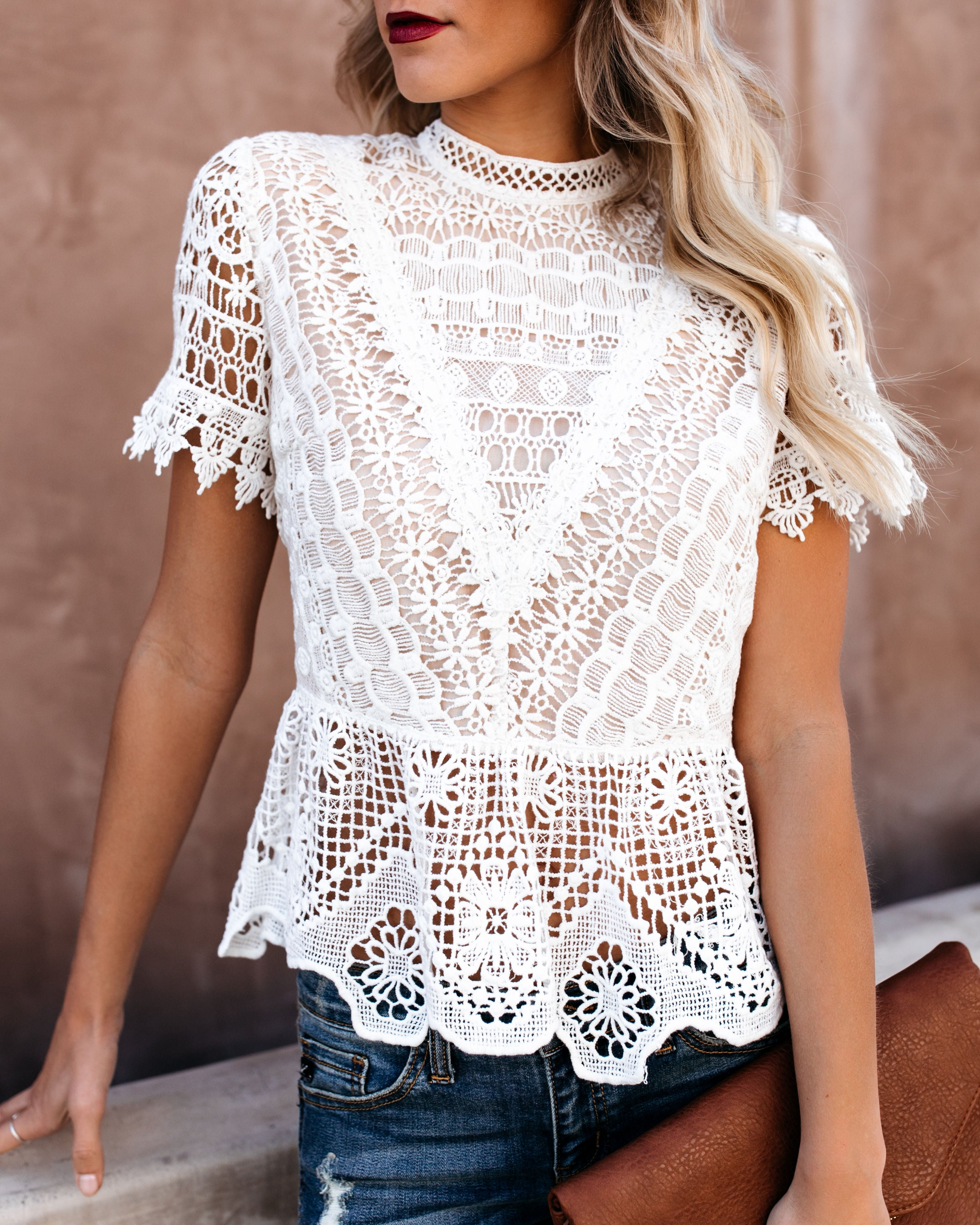 Poetic Crochet Lace Peplum Top - Vintage Ivory.  62.00 Unavailable. Size.  Small 4053f2921