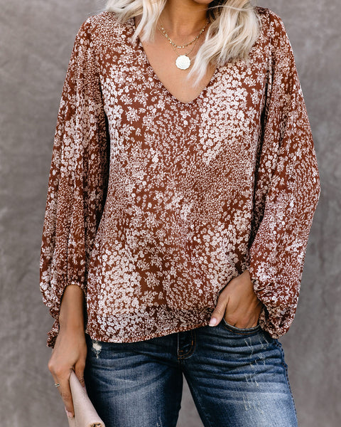Polite Floral Balloon Sleeve Blouse