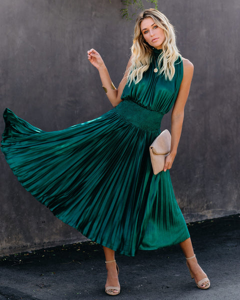 Pont Des Arts Pleated Smocked Midi Dress - Emerald