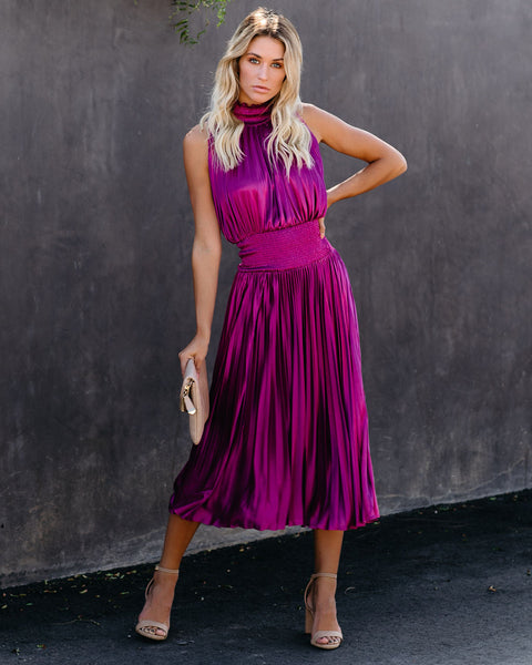 Pont Des Arts Pleated Smocked Midi Dress - Magenta  - FINAL SALE