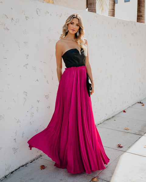 Pop Of Glam Faux Leather Contrast Pleated Maxi Dress - Fuchsia