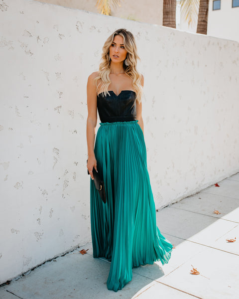 Pop Of Glam Faux Leather Contrast Pleated Maxi Dress - Teal