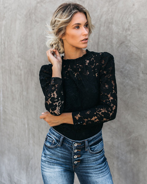Portals Of The Past Lace Top - Black