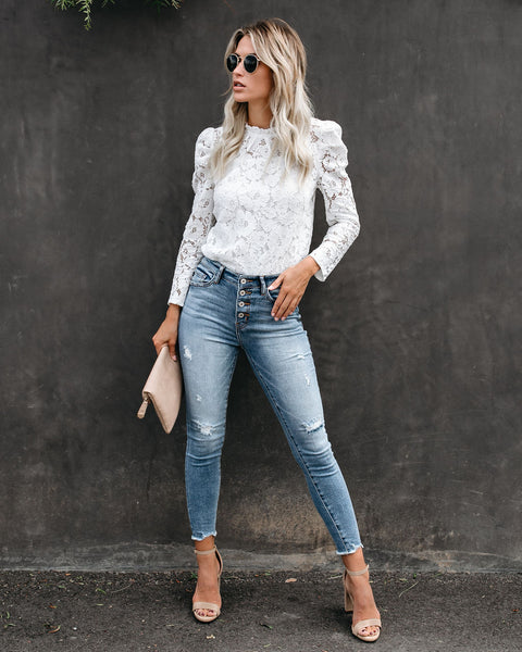 Portals Of The Past Lace Top - White