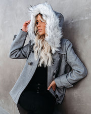 Posh Republic Faux Fur Hooded Pocketed Peacoat
