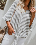 Positively Perfect Striped Knit Tie Top - Grey - FINAL SALE