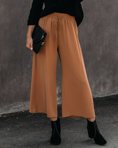 Positive Mindset Pocketed Drawstring Pants - Camel